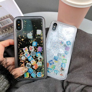 Image 4 - For iPhone 8 Liquid Hard PC Clear Phone Shell For iPhone 6 6S 7 8 Plus X XS XR MAX Cases Quicksand Cover Cute APP icon Case Capa