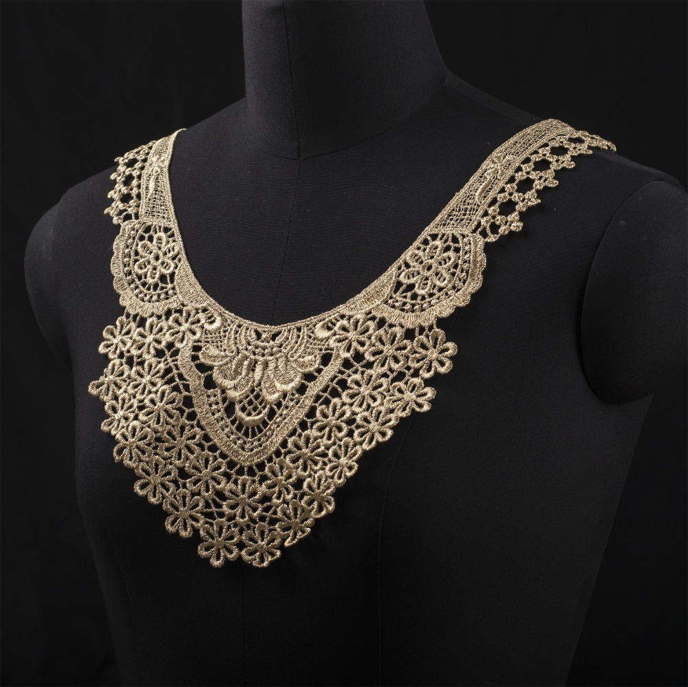 1x Lace Collar Neckline Collar Floral Embroidery Lace Applique Patch DIY Sewing