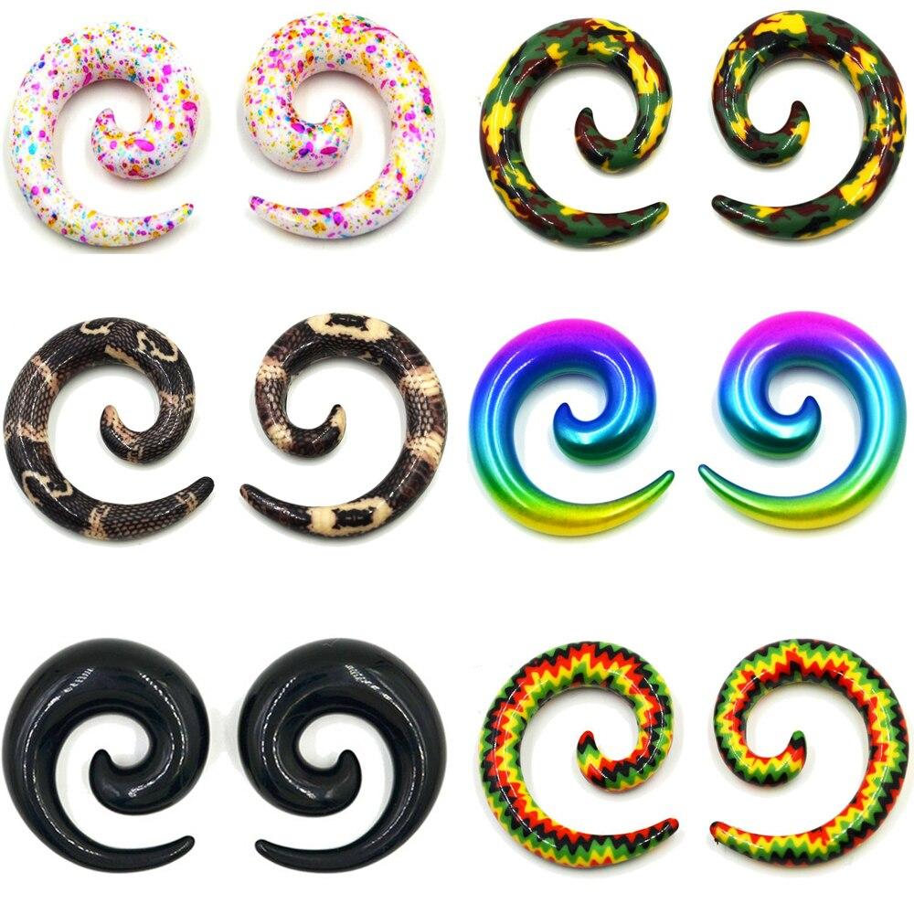 1 par de piercing acrílico estampado da moda, padrão de orelha, espiral, jóias, piercing corporal, alongador, brinco, expansores espirais, piercing