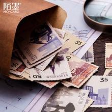Vintage estampillas adhesivas Mini papel adhesivo para el diario DIY viaje Retro Torre sello etiqueta pegatinas Scrapbooking papelería