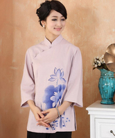 Hot Sale Pink Women Cotton Linen Shirt Chinese Traditional Blouse Flower Tang Suit Tops Clothing Size