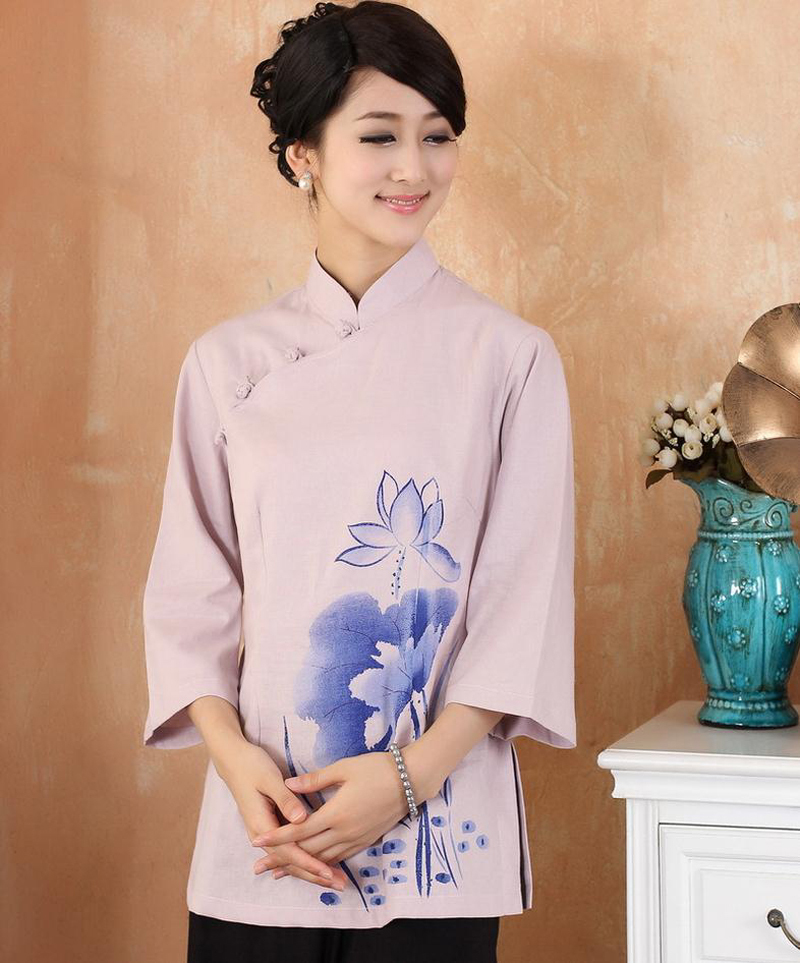 Hot Sale Pink Women Cotton Linen Shirt Chinese Traditional Blouse Flower Tang Suit Tops Clothing Size S M L XL XXL 3XL 2379