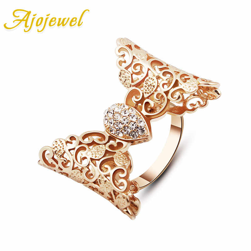 Ajojewel Bowknot Ring For Women Quality Australia Crystal Female Jewelry New Party Accessories