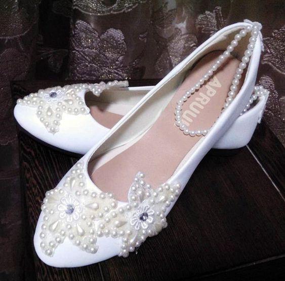 Ivoire perles chaussures de mariage femme mode à la main cheville perles cheville chaussures plates de mariée faites sur mesure plus les tailles chaussures de mariée