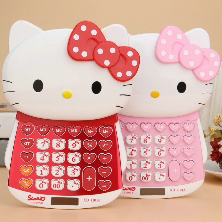 Hello kitty doll shape big cat slide calculator push cover computer dual power ...