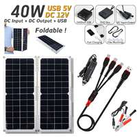 LEORY 40W 14V 2.8A Waterproof Solar Panel Charger USB Foldable Monocrystalline Solar Cell with Car Charger for Outdoor Camping