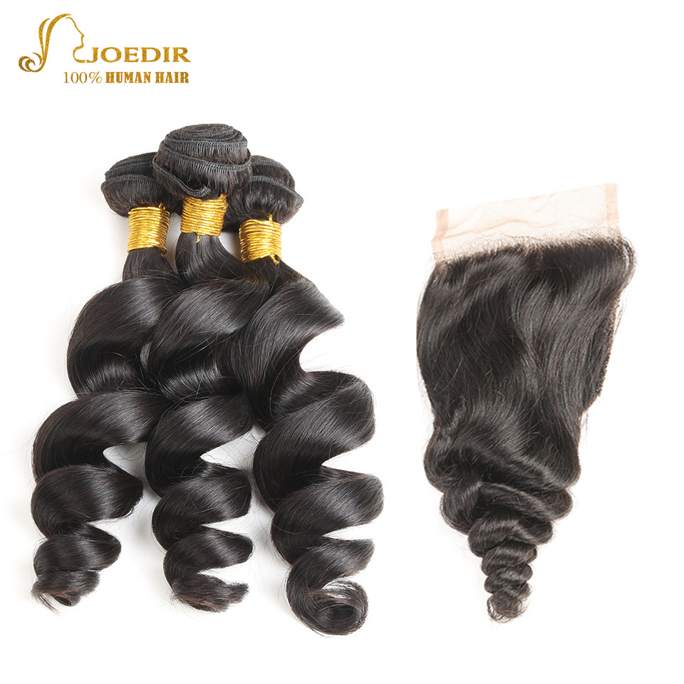 Joedir Hair Peruvian Loose Wave Hair 3 Bundles With Lace Closure 4 PC/Lot Hair Extension Non Remy 100% Human Hair Bundles Deals