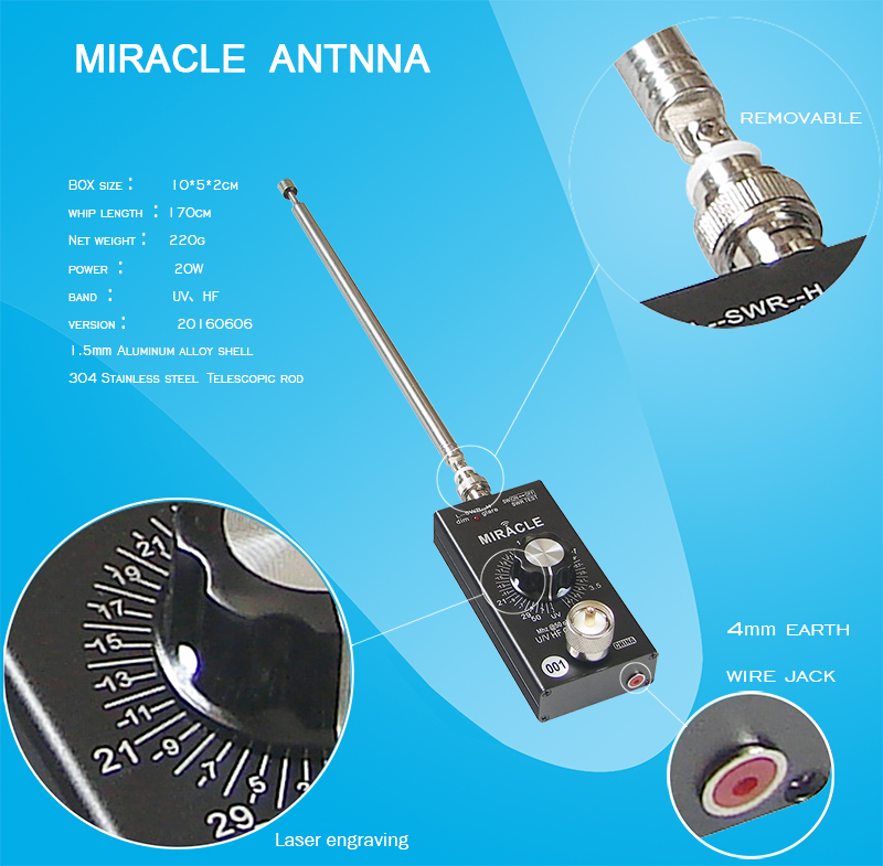 Portable QRP all band Miracle antenna with detachable whip