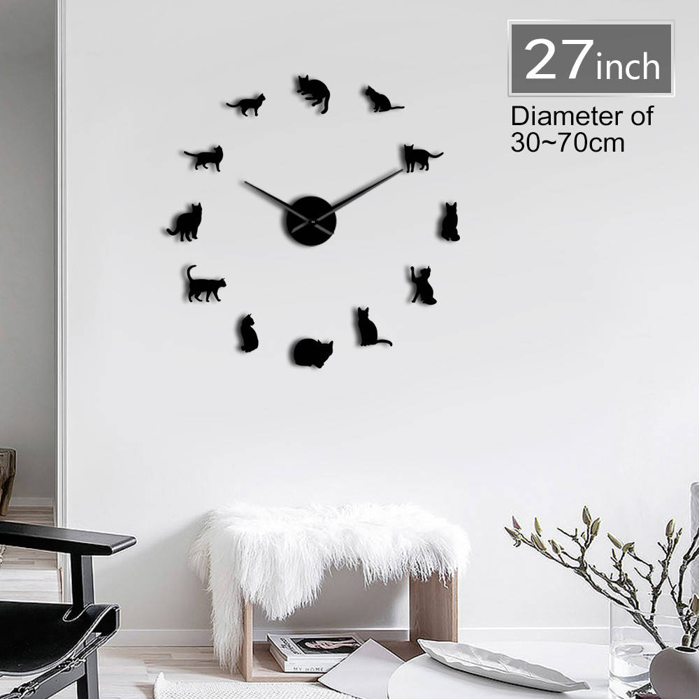 Frameless Cats Silhouette Wall Art Clock Watch Kittens 3D DIY Wall Clock Playful Cat Shape Big Needles Girl Room Kit Decoration