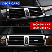 18762d2019c CNORICARC Stainless Steel Middle Console Air Conditioner Outlet Decorative  Frame Car Cover Trim Strip For BMW X5 E70 X6 E71