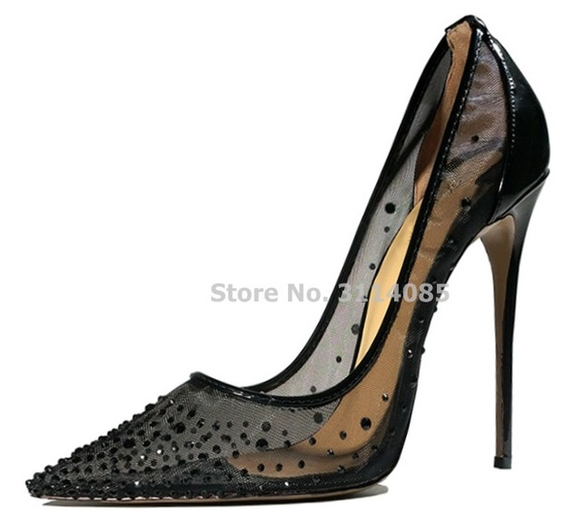 Ladies Sexy Black See Through Mesh Bling Bling Crystal Pointed Toe Pumps Stiletto Heels Shallow Patchwork Dress Shoes Wedding