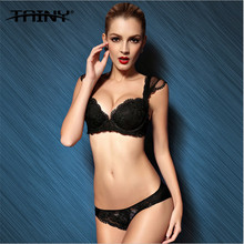 TAINY 2017 Tomantic Elegant Push Up Sexy Lace Embroidery Adjustable Lingerie Bra Brief Sets