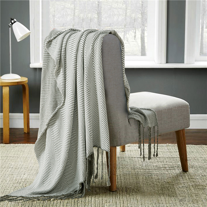 cozzy decorative throw couch cotton thread sofa cover blanket knitted tweed with fringes grey white chevron
