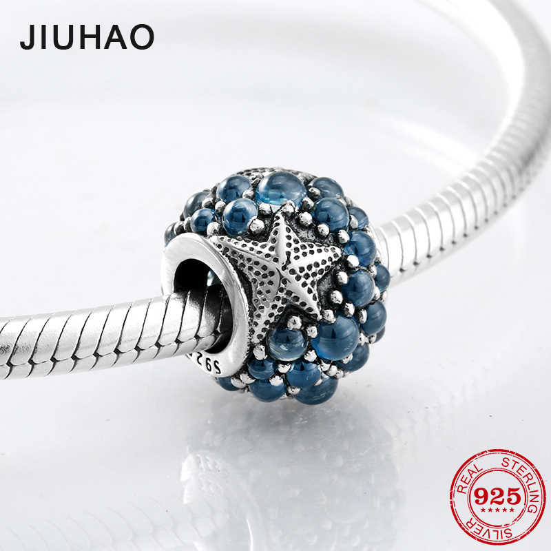 36fdb599a Starfish Sea charms Blue Bubble beads 925 Sterling Silver for womens  accessories Fit Original Pandora Charm