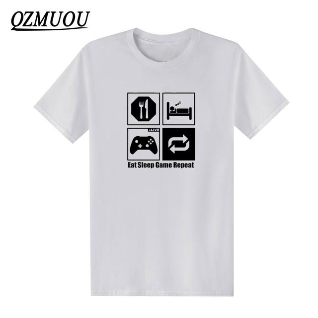 New Fashion Eat Sleep Game Repeat XBOX Mens Gamer Funny T Shirts Custom Pattern Cotton man Short Sleeve T-shirt Casual Tops Tees