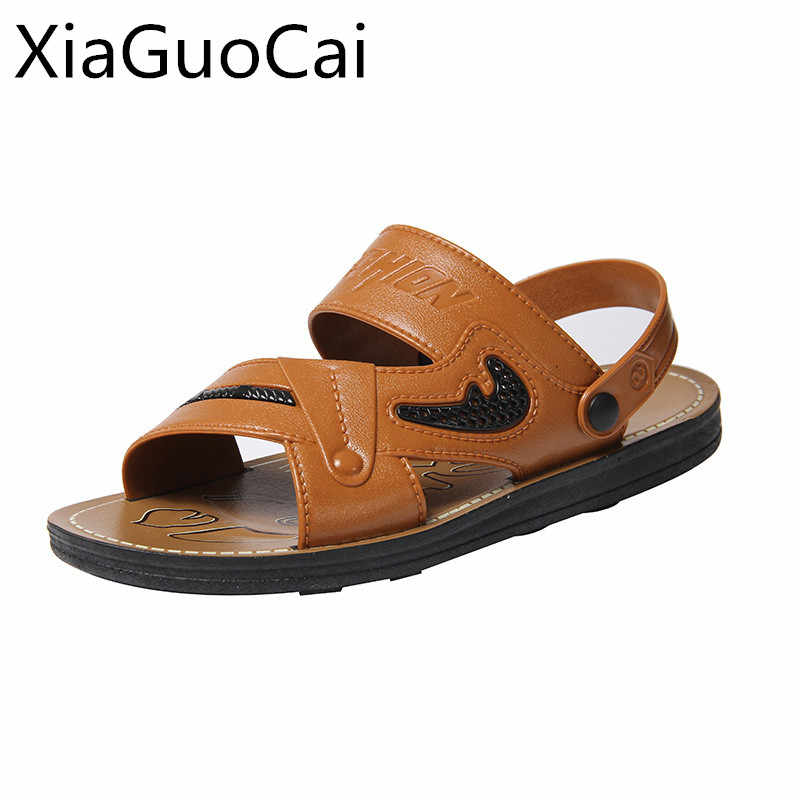 a2f18fc77ade27 High Quality Men's Sandals Summer Outdoor Beach Shoes for Male Slip-on  Gladiator Sandals Antiskid