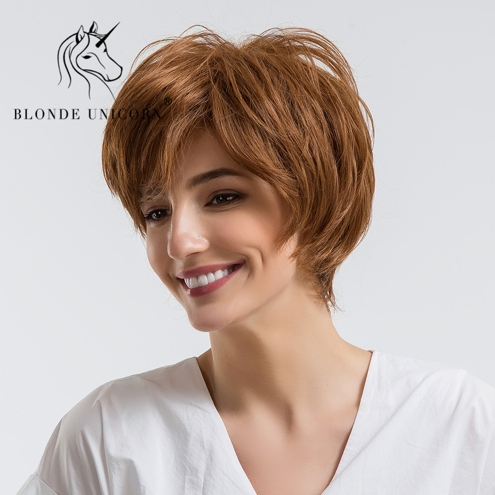 Hair Extensions & Wigs Cheap Sale Blonde Unicorn Synthetic 8 Inch Short 50% Human Hair Wigs With Bangs Natural Wavy Fluffy Layered Wigs For Women Blend Hair Wig Synthetic Blend Wigs