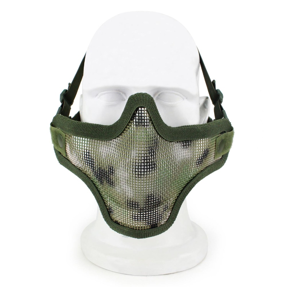 Tactical Face Mask Steel Metal Mesh Samurai Mask Hunting Paintball Airsoft Masks Half Face Protective Mask