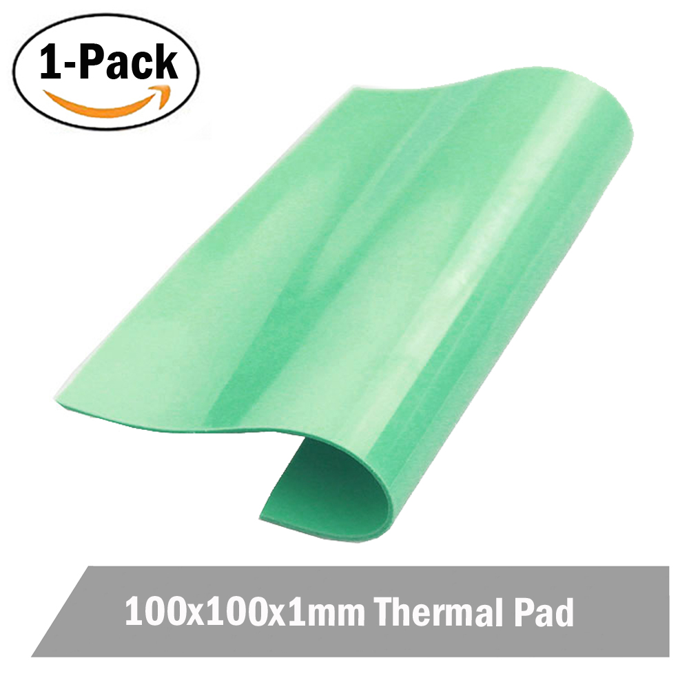 1pcs 100mm x 100mm x 1mm Green Computer for Xbox360 PS <font><b>GPU</b></font> CPU VGA Heatsink Cooling Thermal Conductive Silicone Pad image
