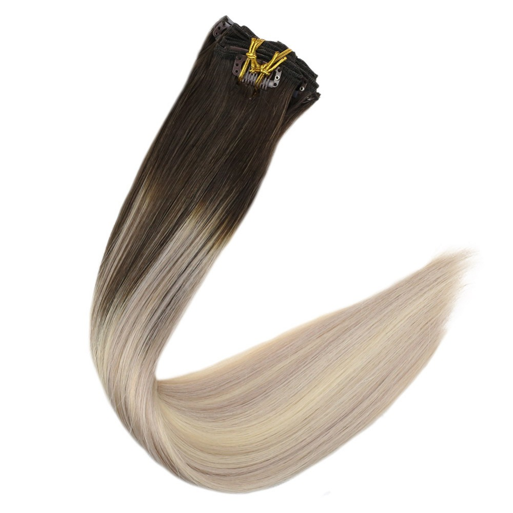 Full Shine Real Hair Clip In Extensions Color #2 Fading To #18 And #60 Blonde 10Pcs 100g Remy Clip In Human Extension