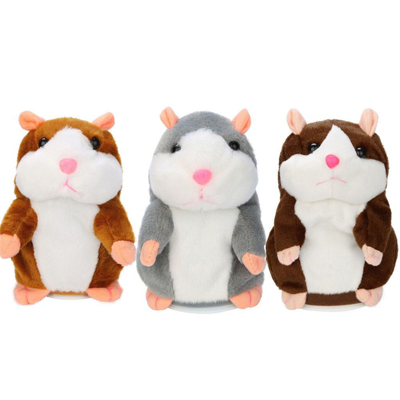 Hot Lovel Talking Hamster Mouse Pet Plush Toy Learn To Speak Electric Record Hamster Educational Children Stuffed Toys Gift 16cm talking hamster speak talk sound record repeat stuffed plush animal child toy