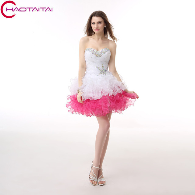 White and Pink Short Homecoming Dresses New Lace Up Back Junior High Cute  8th Grade Graduation 2bfd7623b
