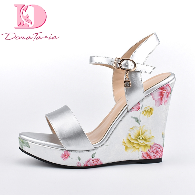 Doratasia New Big Size 41 Brand Design ankle strap Sandals Flower Party Shoes Woman Wedges High Heels Platform Women Sandals