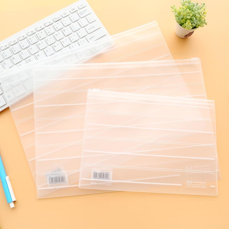 4 Pcs/lot Mirui Pull Side Storage Bag Environmental Protection Transparent Frosted Paper Bag Bill Information Storage Portfolio