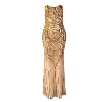 LE CELEBRE Mesh With Sequins Women Dress Gold 2018 Strapless Formal Party Dress Floor Length Mermaid
