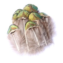 Exquisite 30 Pieces Of Peacock Gold Piece Feather Natural Feather 3-7CM Wedding Dress DIY Fluffy Decorative Jewelry five pieces of american exquisite porcelain ornaments green peacock bathroom toiletries handicrafts
