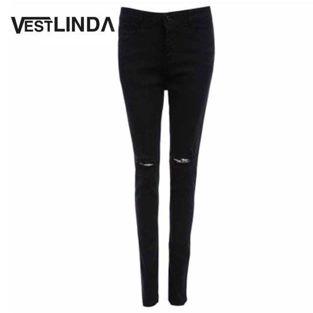 VESTLINDA Buraco Lápis Calças Jeans Da Moda Calças Jeans Femininas Denim Outono Chic Mulheres De Cintura Alta Buraco Design Sólido Elástico Preto calças de Brim