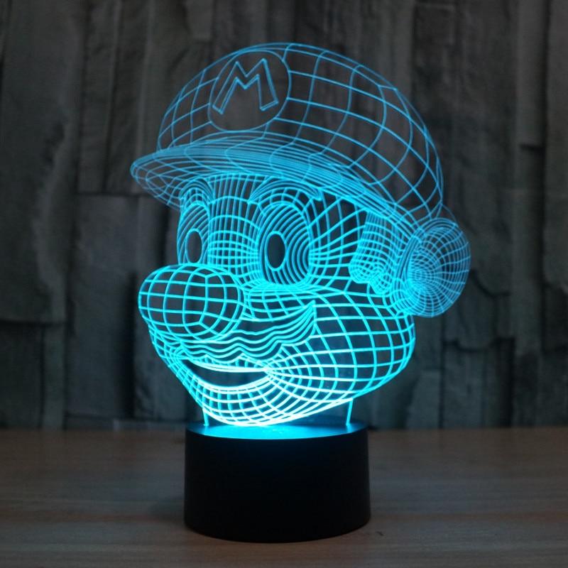 Super Mario Head 3d Night Light 7 Color Changable Led Desk