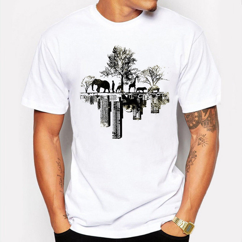 Summer Men T-Shirt Natural Tree Animal Elephant Printed Casual Funny T Shirt Tee Youth Round Collar Customized T-Shirts Top Tee