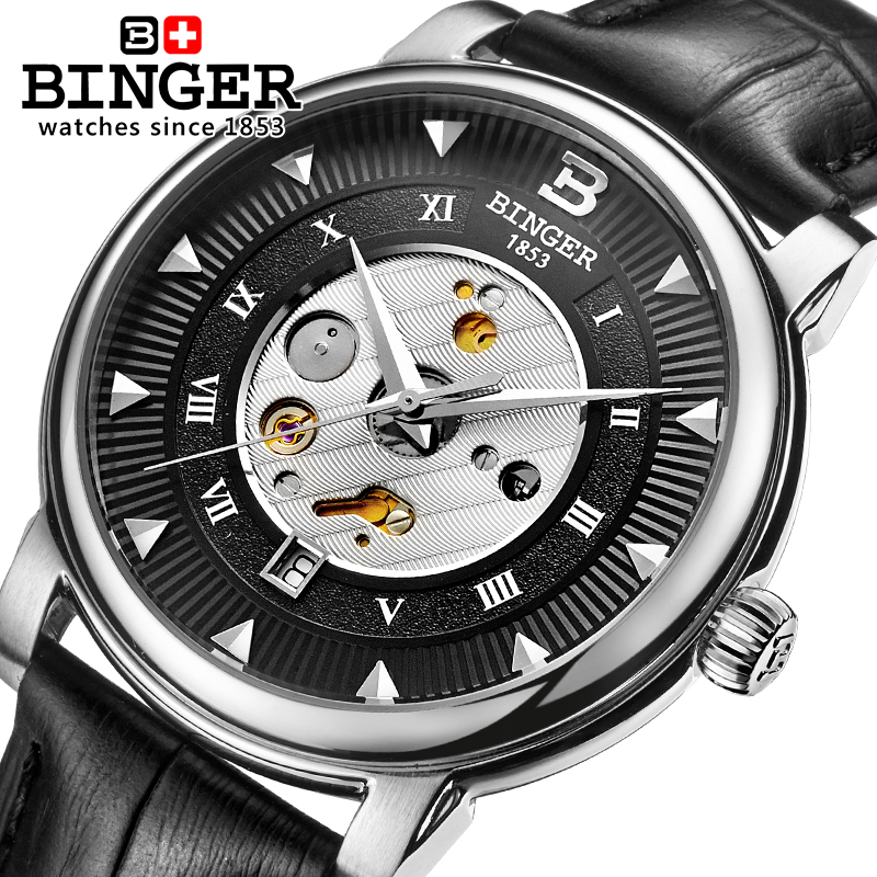Switzerland Automatic Mechanical Watch Men Stainless Steel Reloj Hombre Wrist Watches Male Waterproof Skeleton Sapphire B-1160-3 switzerland mechanical men watches binger luxury brand skeleton wrist waterproof watch men sapphire male reloj hombre b1175g 1
