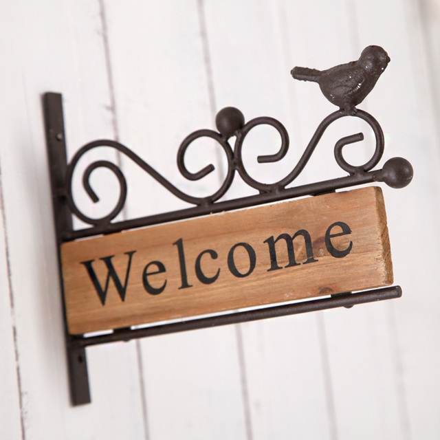 Completely new Retro Vintage WELCOME Sign Plaque Metal Wood Bird Welcome Sign for  YD86