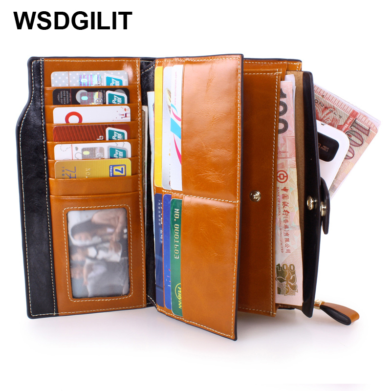 Fashion Multifunctional Genuine Leather Wallet Women Purse Credit Card Holder Womens Wallets And Purses Long Style Cowhide Bag