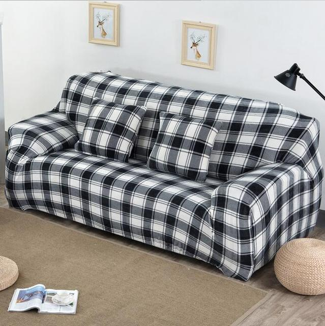 Thick Velvet Elastic Sofa Cover, Lattic Black And White Mix Couch Sofa  Covers   Waterproof