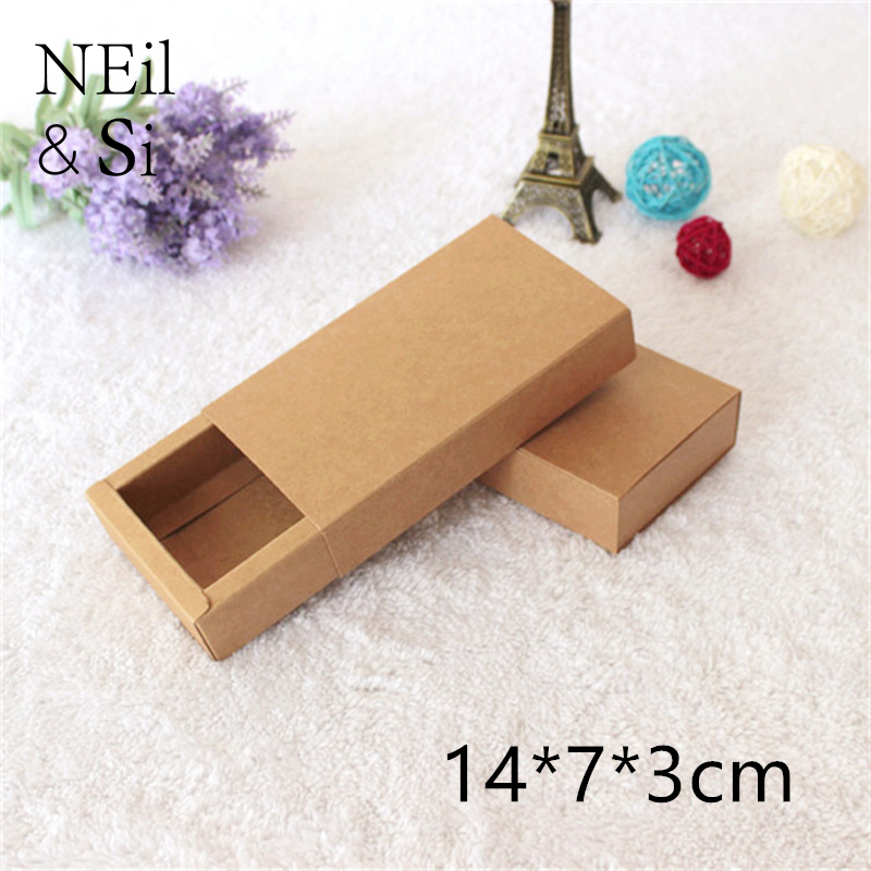 Brown Drawer Paper Box Gift Jewel Bow Tie Bakery Cookies Packaging Kraft Paper Boxes 14*7*3cm Free Shipping