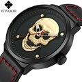 WWOOR Kreative Kühle Schädel Leder Männer Uhren Mode Luxus Wasserdicht Casual Quarz Uhr Männliche Armbanduhr Relogio Masculino-in Quarz-Uhren aus Uhren bei