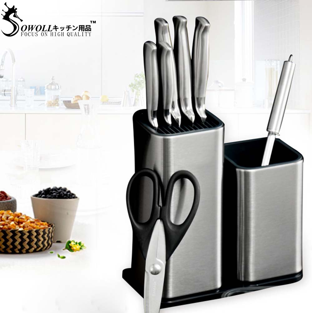 Sowoll Knife Stand Holder For Kitchen Knife Stainless Steel Knife Holder Stand Block High End Kitchen Accessories
