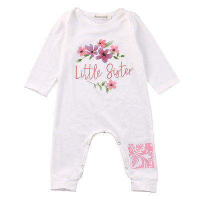Cute Cotton Newborn Infant Baby Girls little sister Floral Long Sleeve Romper Jumpsuit Clothes Outfits summer newborn infant baby girl romper short sleeve floral romper jumpsuit outfits sunsuit clothes