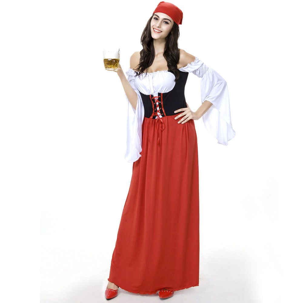 M-XL Red Long German Oktoberfest Beer Maid Girl Wench Gretchen Costume Fancy Cosplay Dress Clothing
