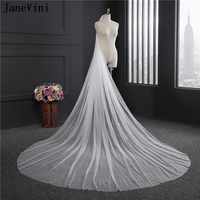 JaneVini Simple Tulle White/Ivory Cut Edge Bridal Veils Cathedral Long One Layer Bride Veils with Comb Women Wedding Accessories