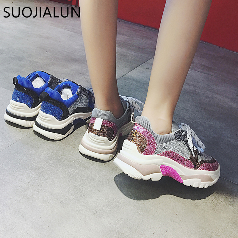 SUOJIALUN Women Casual Flat Platform Sneakers Shoes Fashion Brand Winter Female  Breathable Creepers Lace Up Round Toe Flat -in Women s Flats from Shoes on  ... 5780251eb971