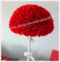 SPR 50cm 2pcs/lot wedding silk kissing ball plastic inner red kissing ball table flower decorations 1pcs=2pcs half balls