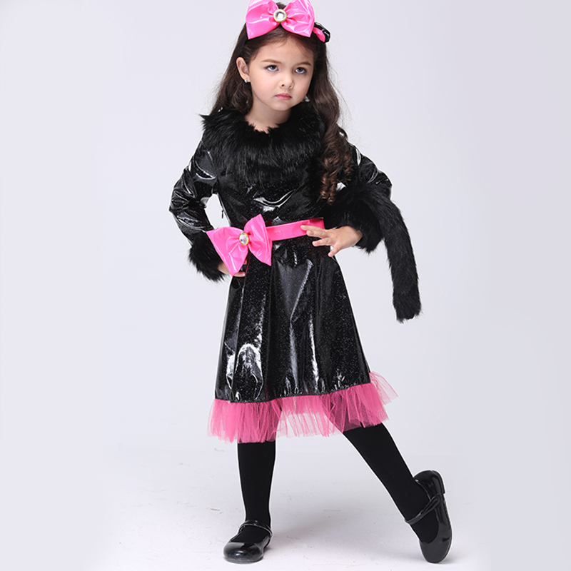 Kids Girls Toddler Costume Cat Dress With Headband And Tail Carnival Party Fancy Halloween Cosplay Costume Dancewear cosplay party cat fox long fur ears neko costume hair clip halloween orecchiette y103