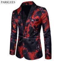 Mens Red Flame Printed Blazer Jacket 2018 Brand Casual Slim Fit Single Button Blazer Men's Suits and Blazers Terno Masculino 3XL