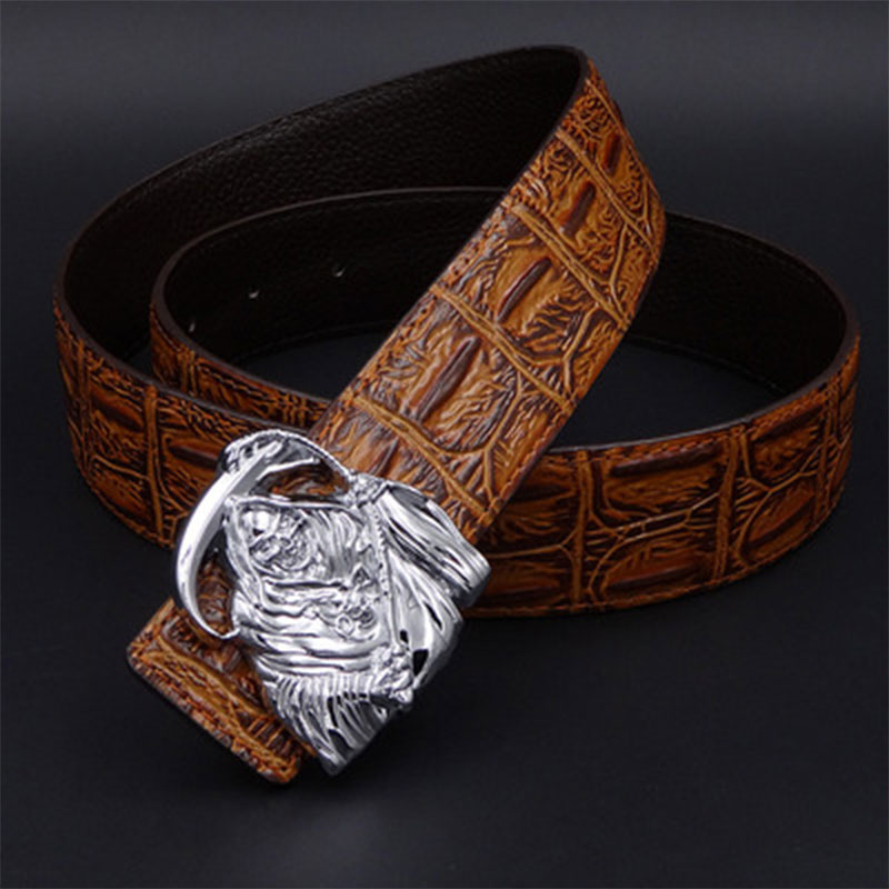2018brand new famous designer belts men high quality belt gold Wolf Head buckle Girdle 130cm casual waist strap cowboys jeans