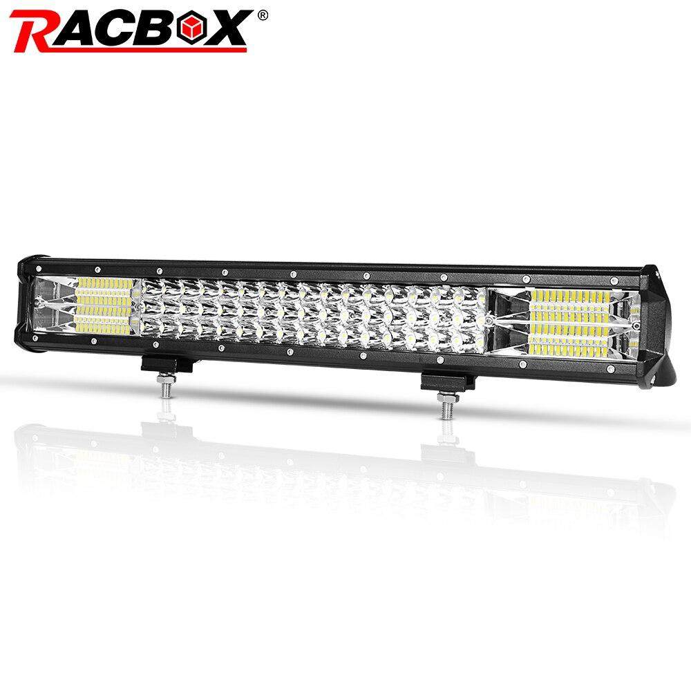RACBOX 20 inch Three Row LED Work Light Bar Wide Flood Beam 288W 12V 24V Car