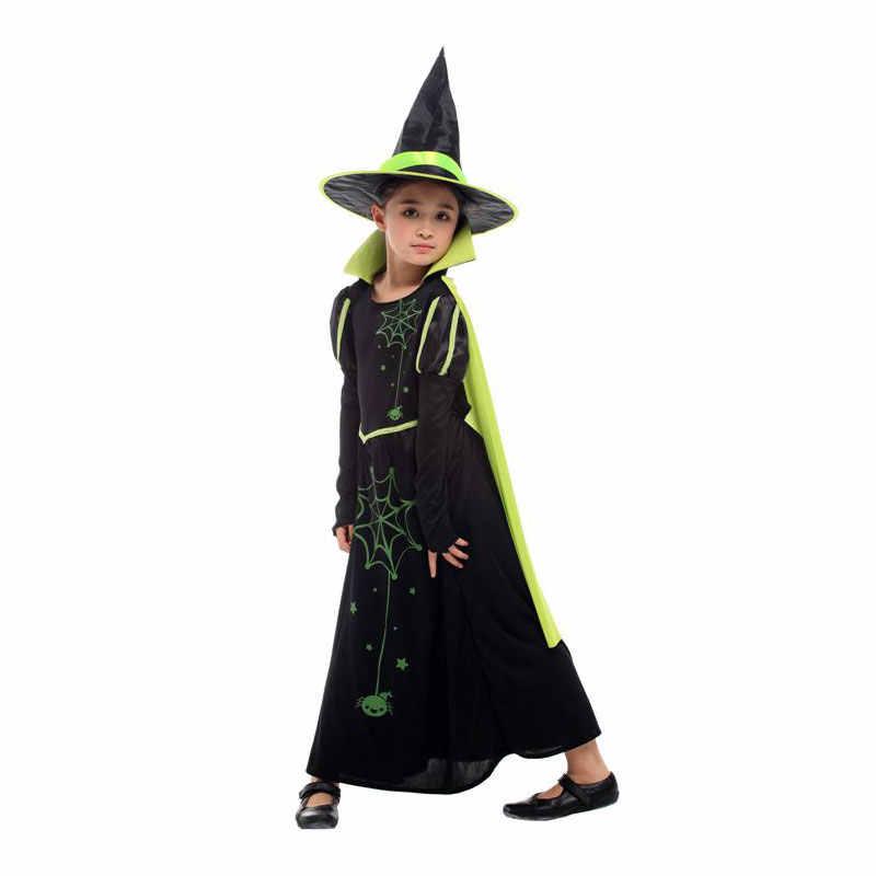 Umorden Kinder Wicked Hexe Kostüm für Mädchen Zauberer Von Oz 75th Anniversary Edition Grün Cape Halloween Karneval Kleid Bis
